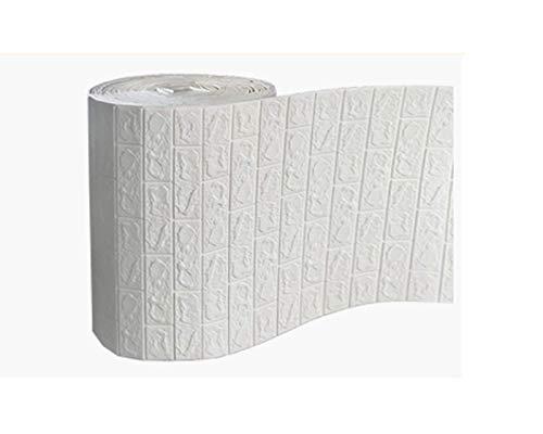 SHUAIGE 3D Wandpaneel Steinoptik Tapete PE Foam DIY Brick Stone Embossed Wall Paper Wall Stickers Wall Decor Wandtapete Schaumstoff für Wanddekoration (weiß)(Size:70cm*20m,Color:Weiß)