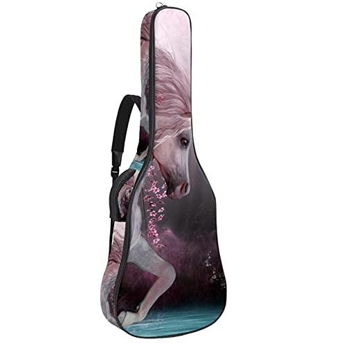 Funda de Guitarra Española Unicornio Romántico Bolsa Acolchada Para Guitarra Acústica con Asa de Transporte y Correa Para el Hombro 109x43x12cm