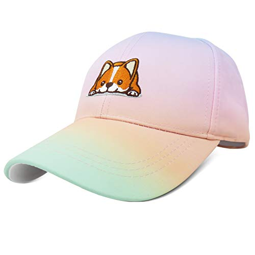Phaiy Adjustable Baseball Cap with Button,Cute Corgi Dog Pattern Embroidery Dad Hat for Women Kids Boys Girls,Unisex Sun Protective Rainbow Outdoor Sports Cap