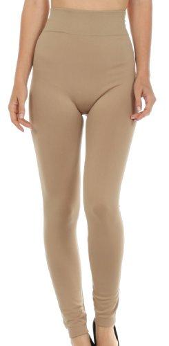 Sakkas 003GL Caldo Morbido Pile Foderato Leggings a Vita Alta - Beige - One Size Plus