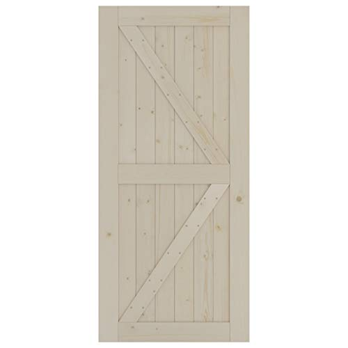 SmartStandard 36in x 80in Sliding Barn Wood Door Pre-Drilled Ready to Assemble, DIY Unfinished Solid Spruce Wood Panelled Slab, Interior Single Door Only, Natural, K-Frame (Fit 6FT-6.6FT Rail)