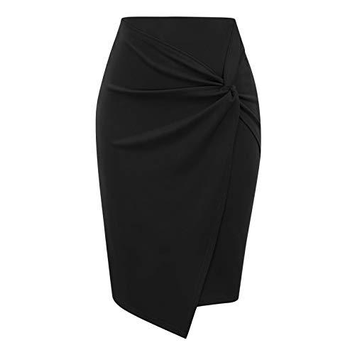Damenröcke, einfarbig, Hüftrock, Bleistiftrock in klassischer Mode, kurzer Rock im professionellen Stil, professionelle Kleidung (schwarz, XXL)