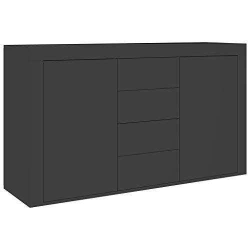 Tidyard Armario Auxiliar de Almacenamiento Aparador de aglomerado Negro Brillante 120x36x69 cm