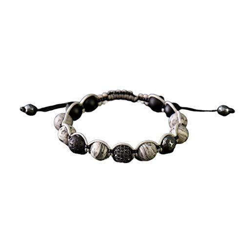 EXINOX Naturstein-Perlen-Armband Shamballa Schwarz : Mann Frau :