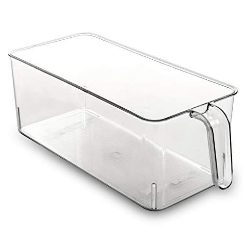 BINO Refrigerator, Freezer, Kitchen Pantry Cabinet Organizer Plastic Bin with Handle, Clear Plastic Storage Bins Refrigerator Organizer Bins Fridge Organizer Pantry Organizer Pantry Storage, Medium