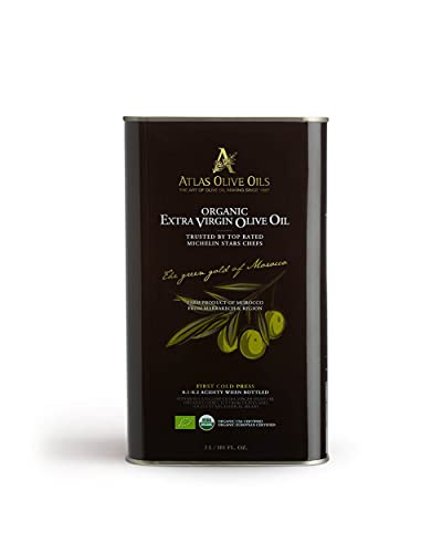 Atlas 3 LT Organic Cold Press Extra Virgin Olive Oil with Polyphenol Rich from Morocco|Newly Harvested Unprocessed from One Single Family Farm | Moroccan EVOO Trusted by Top Rated Michelin Star Chefs