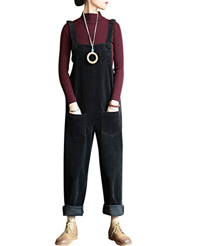 Bigassets Damen Baumwolle Cord Jumpsuits Spielanzug Hose Latzhose mit Taschen Black