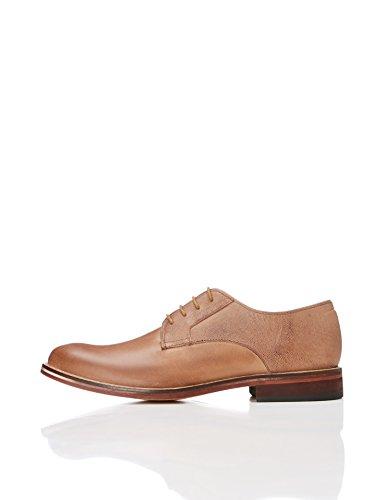 find. Zapato Blucher de Piel con Textura para Hombre, Marrón (Chocolate), 42 EU