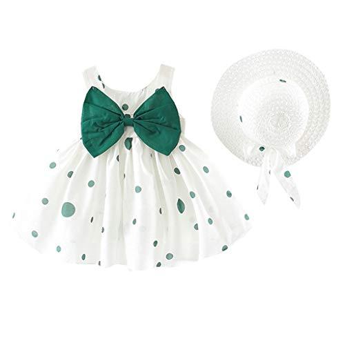 Babykleidung Baby Mädchen Kleider Ärmelloses O-Neck-Kleid Blumenschleife Prinzessin Sommerkleider Festes Kleid Rock + Hut