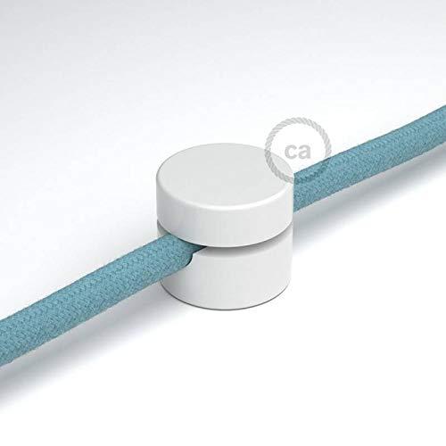 Fixation au mur universelle pour le passage du câble textile blanc.