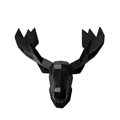 Montaje en pared Simulación Cabeza Pared Colgante Resina Animal Cabeza Tridimensional Sala De Estar Sofá Fondo Pared Decoración Artesanales Regalos Cabeza de Animal (Color : Black)