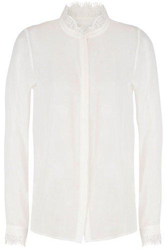 Tigha Artemis Damen Bluse Hemd schwarz weiß durchsichtig Spitze (36, Weiß)