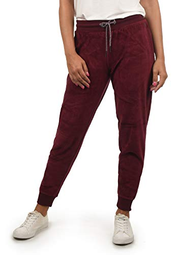 DESIRES Nikita Damen Sweathose Velours-Sweatpants Relaxhose Regular- Fit, Größe:XS, Farbe:Wine Red (0985)