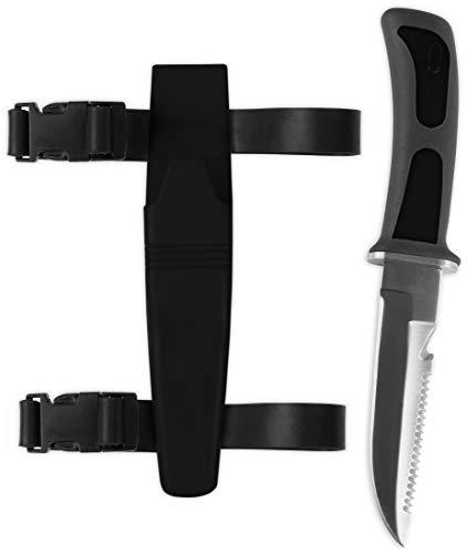 Storfisk fishing & more Tauchermesser mit Beinholster, mit Sicherung und Sägezahnrücken, Länge: 23 cm, Farbe :Schwarz