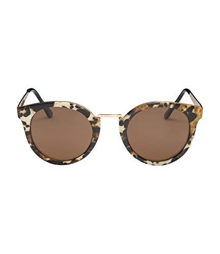 SIX Sonnebrille mit Leo-Print und goldglänzenden Bügeln (326-017)