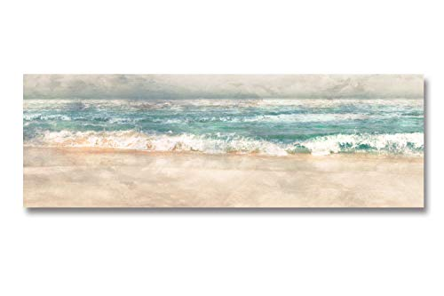 Fajerminart Cuadro En Lienzo - Olas Del Oceano Verde Mar Lona Paisaje Marino Pintura De Lienzo, Lienzos Decorativos Adecuado Cuadros Dormitorios, Cuadros Decoracion Salon modernos 50x150cm (Sin Marco)