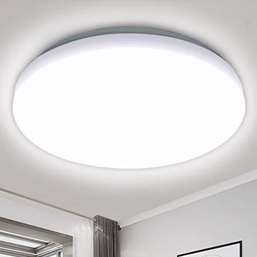 LED Deckenleuchte 20W, Tonffi LED Deckenlampe 1800LM für Badezimmer Küche Wohnzimmer Flur, Kaltweiß 6000K IP54 Wasserfest Rund
