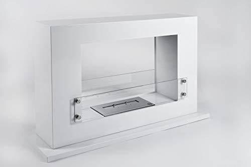 LILIMO Bodenkamin Bologna | 100 x 30 x 62,5 cm | Freistehender Bio-Ethanol Kamin| in weiß