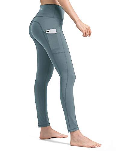 ALONG FIT Leggings Damen mit Taschen, Nicht durchsichtig Sporthose Damen Dehnbar Yogahosen für Damen, Türkis, XXL