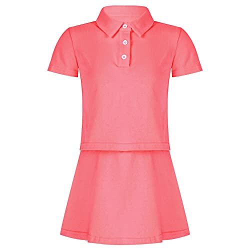 Freebily Vestito da Tennis Bambina Ragazza Tuta da Ginnastica T-Shirt Maglietta Manica Corta + Mini Gonna a Pieghe Tuta Sportiva 2 Pezzi Completi da Tennis Golf Allenamento Rosa 7-8 Anni