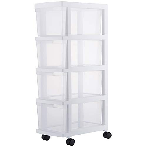 Macallen Cajonera con Ruedas 4 Cajones, Móvil Cajonera Plastico Organizador en Cajones para Oficina/Dormitorio/Cocina/Estudio/Sala de Estar, Ahorrar Espacio