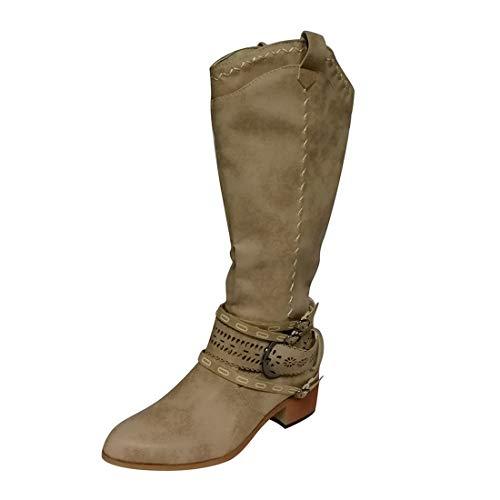 heavKin-shoes Women's Vintage Low Heel Knight Boots Zipper Hasp Comfy Knee High Winter Boots (Khaki, 8-Women-US)