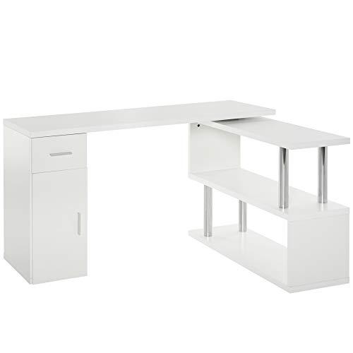 homcom Scrivania Angolare Moderna in Legno con Cassetto, Armadietto e Mensole, Arredamento per Ufficio e Casa, Bianco