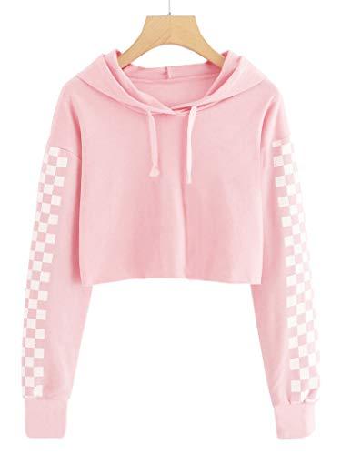 Imily Bela Kids Crop Tops Girls Hoodies Cute Plaid Long Sleeve Fashion Sweatshirts Pink
