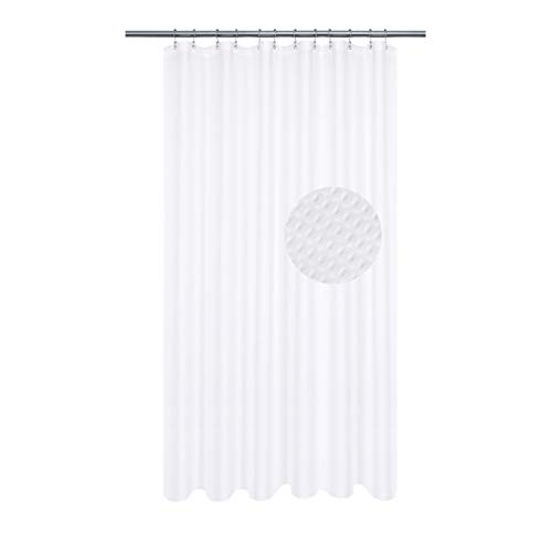Extra Long Shower Curtain with 84 inch Height, Fabric, Waffle Weave, Hotel Collection, Water Repellent, Machine Washable, 230 GSM Heavy Duty, White Pique Pattern Decorative Bathroom Curtain
