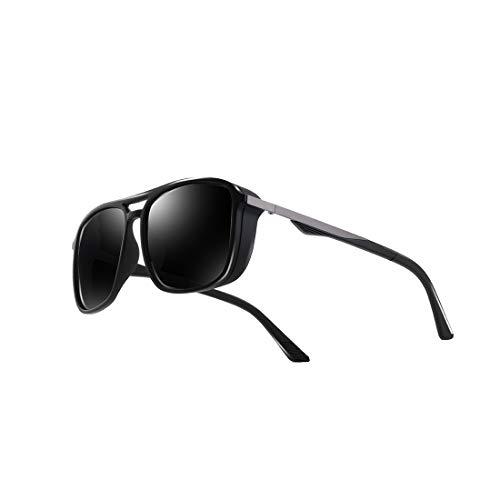 kimorn Polarisiert Sonnenbrille Für Herren Quadratischer Rahmen Unisex Outdoor Sportbrille KlassischK0623 (Matt-Schwarz&Grau)