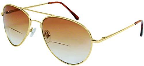 +1.50 Bifokal Sonnen Lesebrille Sonnenbrille Gold Rahmen 100% UV-Schutz Gläser Männer Frauen Retro Vintage Zeitlos 1.5