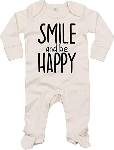 Kleckerliese Grenouillère pour bébé avec inscription « Smile and be Happy » - Beige - 0-3 mois
