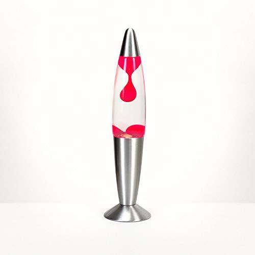 Lavalampe 35cm Rot transparent Timmy E14 25W Kabelschalter Geschenkidee Weihnachten inklusive Leuchtmittel Retro Magmaleuchte
