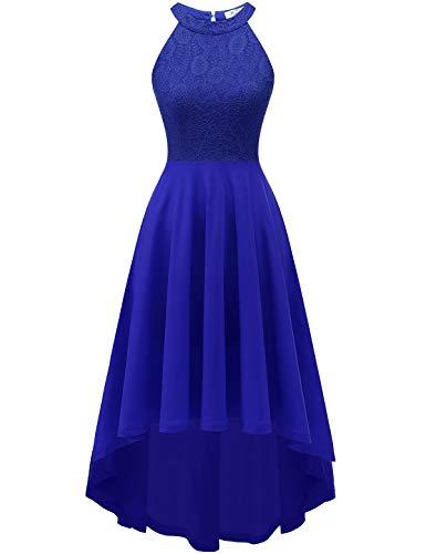 YOYAKER Damen 50er Vintage Rockabilly Kleid Neckholder Cocktailkleid Spitzen Vokuhila Festliche Party Abendkleider für Hochzeit Royalblue M