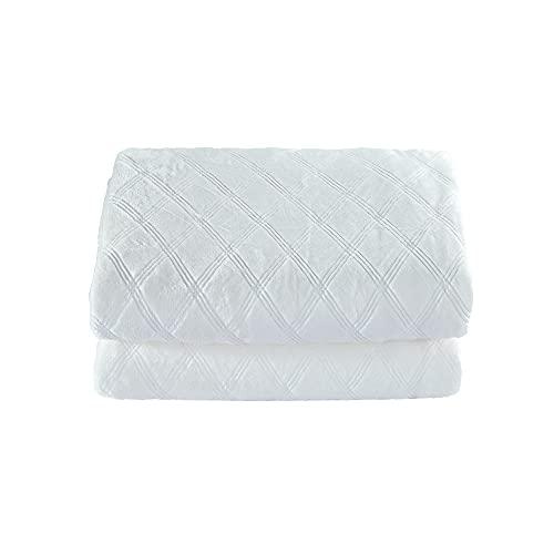 CREVENT Weiche flauschige Tagesdecke für Queen-Size-Bett, für alle Jahreszeiten, geeignet für Bett/Sofa/Couch, 228 x 228 cm, Queen Size/Elfenbeinweiß