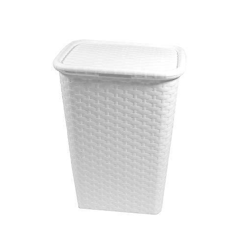 BigDean Wäschebox in Flechtoptik 65 Liter - Weiss - Wäschetruhe Wäschekorb