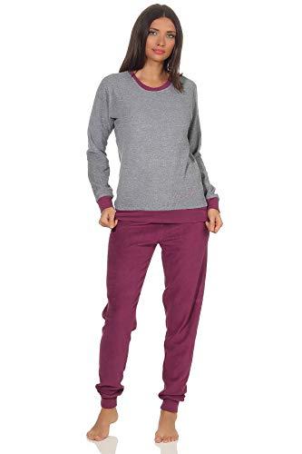 Damen Langarm Frottee Pyjama Schlafanzug mit Bündchen und Zierspruch und Herzmotiv,...