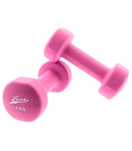 Riscko - Set de 2 Mancuernas con Revestimiento de Vinilo | Ejercicio Fitness | Entrenamiento en Casa | Gimnasio | Peso Total 3Kg (2Ud x 1.5 Kg) | 15 x 6 cm | Color: Fucsia