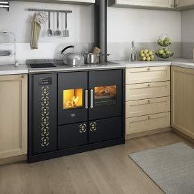 Eva Calòr Vittoria - Estufa con cocina de leña: color - aluminio, Eva calor ACS - ACS integrado