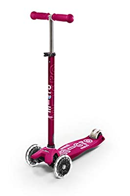 Micro Kickboard - Maxi Deluxe LED 3-Wheeled, Lean-to-Steer, Swiss-Designed Micro Scooter for Kids with LED Light-up Wheels, Ages 5-12 - Pink