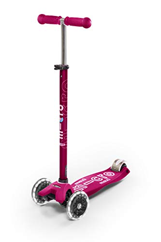 Micro Kickboard - Maxi Deluxe LED - Three Wheeled, Lean-to-Steer Swiss-Designed Micro Scooter for Kids with Motion-Activated Light-Up Wheels for Ages 5-12 (Pink)