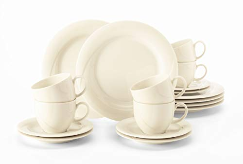 Seltmann Weiden Kaffeeservice 18-teilig Cream | Set für bis zu 6 Personen |Serie Orlando | beinhaltet je 6 Frühstücksteller, Kaffeeober-und Untertassen, Hartporzellan