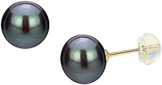 Golden Choice 18K Solid Gold Black Pearl Earrings for Women 8 mm-8.5 mm Freshwater Cultured AAA to AA Pearls Full of Sheen...