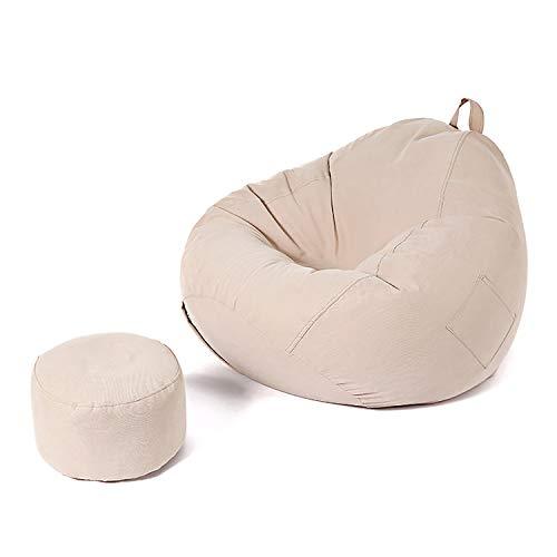 BHAHFL Silla Bean Bag Sillón Lounge Bean Bag Sofá Sofá Perezoso Forma De Gota De Agua Cómodo Y Suave Diseño Extraíble Manija Balcón Dormitorio Sillón reclinable Individual con Revestimiento,Caqui