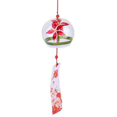 Garneck Japanse stijl wind chime eenvoudig ontwerp wanddecoratie deur decoratie raamdecoratie woonaccessoires kunnen worden gebruikt in de babykamer balkon of woonkamer(Red Goldfish) 42×7.5cm Rode Bloemen