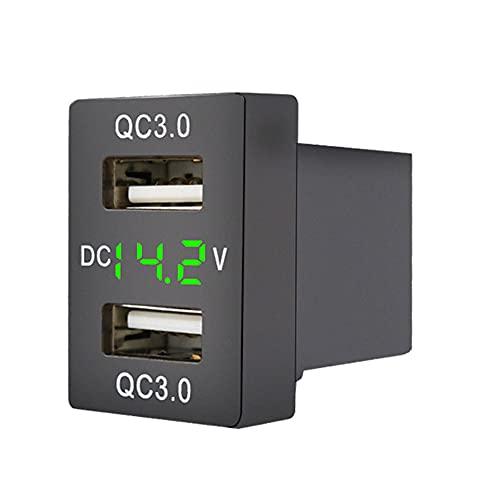 MY99 USHOMI Cargador de Enchufe de Coche USB Dual 12-24V Cargador de Adaptador de Corriente de Coche de Voltaje USB LED para teléfono móvil Luz Verde