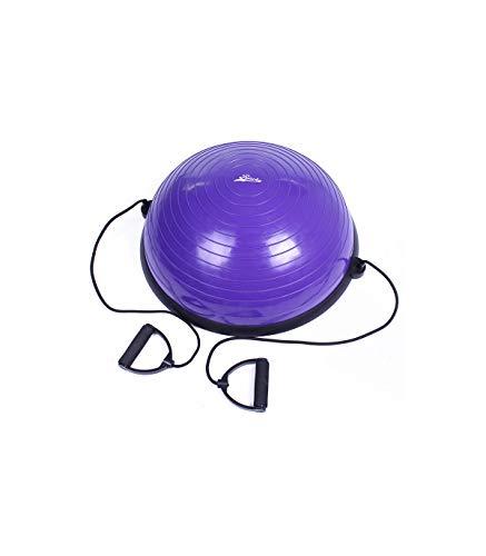 Riscko Semi Esfera Bosu Balance Morado de 58 cm, Step Fitness con Inflador y Bandas de Resistencia