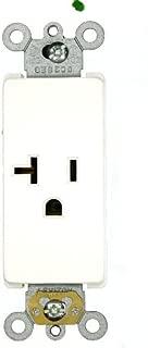 Leviton 16351-W 20 Amp, 125 Volt, Decora Plus Single Receptacle, Straight Blade, Commercial Grade, Self-Grounding, White