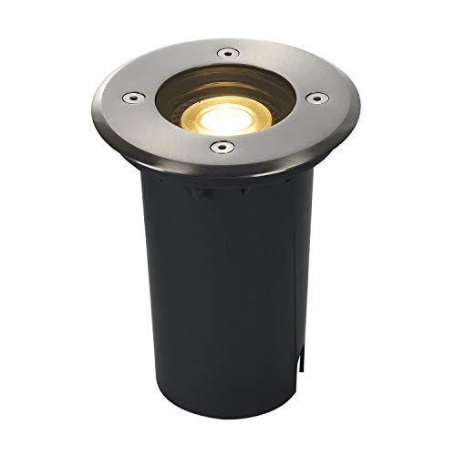 SLV Bodeneinbauleuchte SOLASTO 120 / Spot für Terrasse, Outdoor-Strahler, Einbau-Lampe Garten, Bodenlampe für Außen / GU10 IP67 6.0W edelstahl