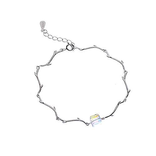 lcycccc Armband weiblich, 925er Sterlingsilber, Österreich, Kristallbox, Zweigarmband,